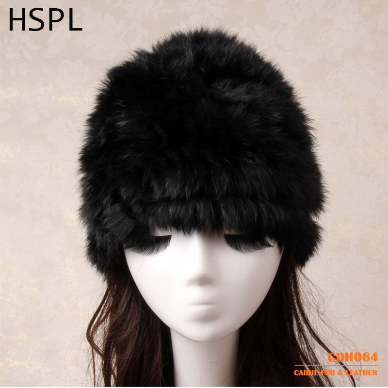 HSPL Fur Hat Women s Hat Natural Knitted Genuine Rabbit Fur Winter Hats For Women Fashion