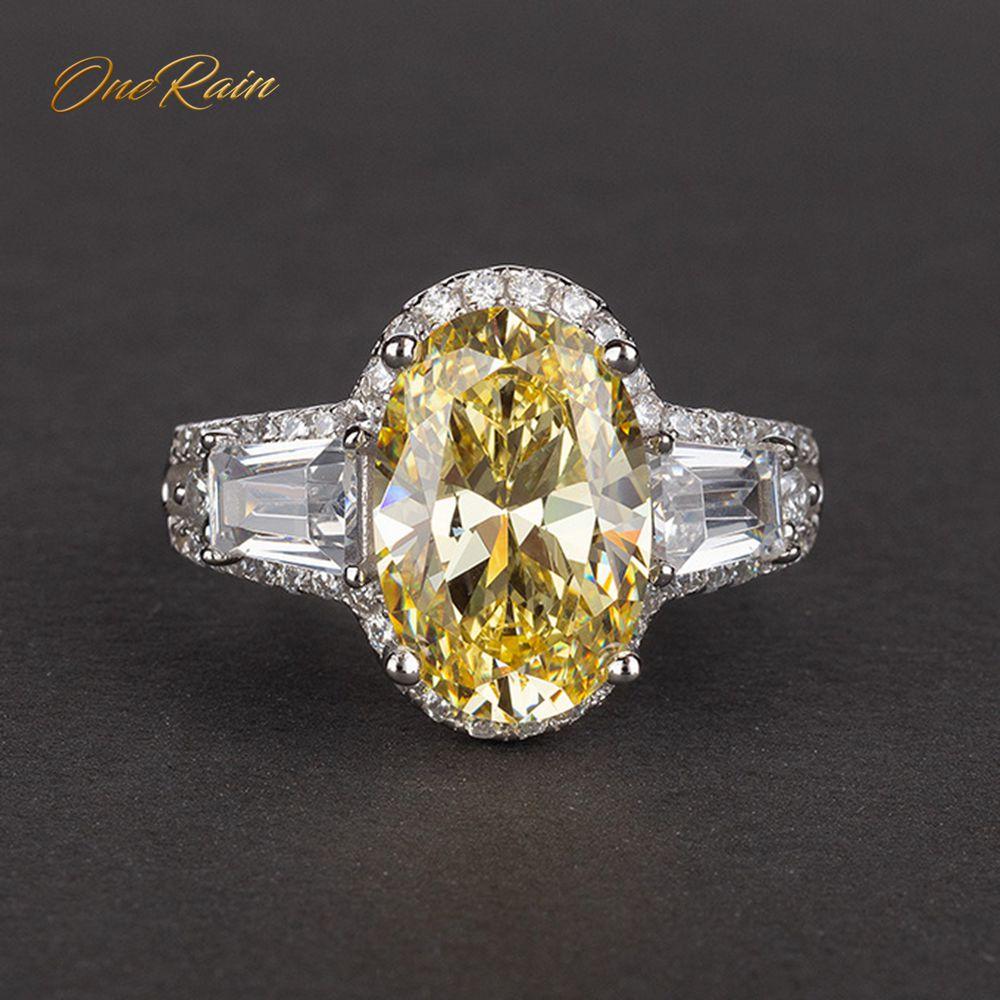 OneRain Luxury 100% 925 Sterling Silver Created Moissanite Citrine Sapphire Gemstone Engagement Wedding Rings Jewelry Wholesale