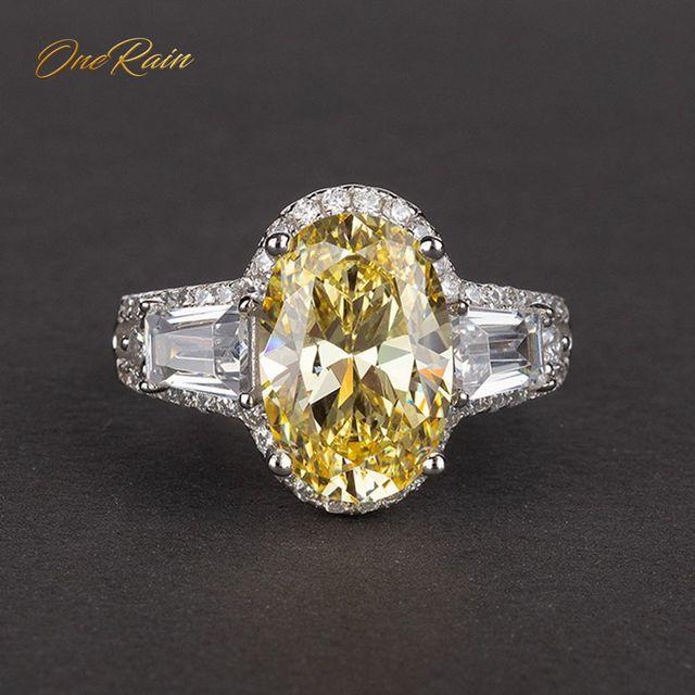 Onerain 高級 100% 925 スターリングシルバー作成モアッサナイトシトリンサファイア宝石の婚約結婚指輪ジュエリー卸売