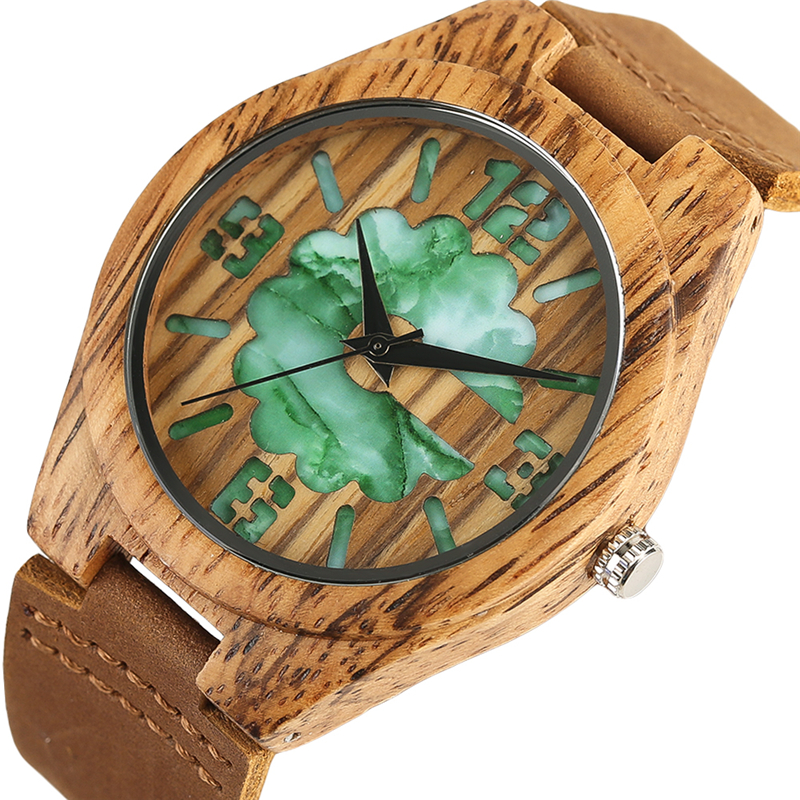 Creative Double Layer Engraving Wood Watches Jade Green/White Display Quartz Nature Wooden Watch New Fashion Gift for Men Women
