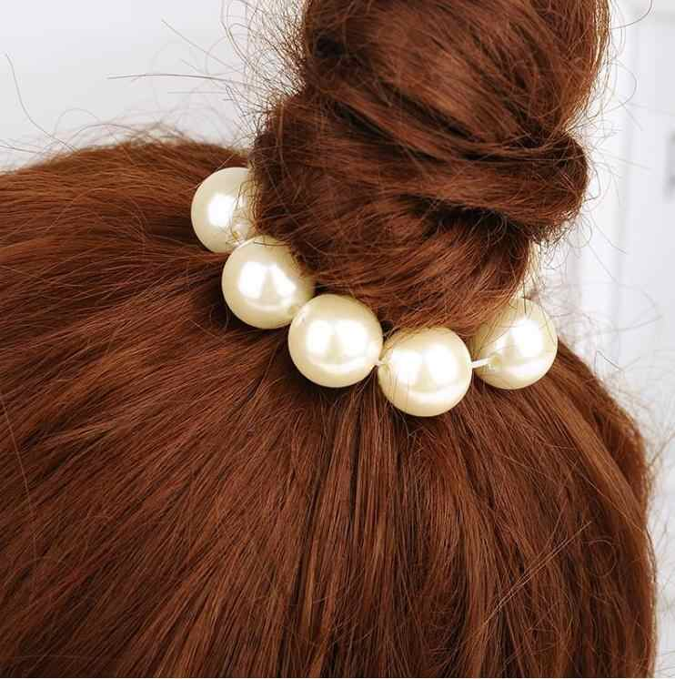 One Piece Korean Fashion Hair Jewelry White Gray Pearl Beads Rubber Bands Elastic Hair Bands For Women Girl's Hair Accessories
