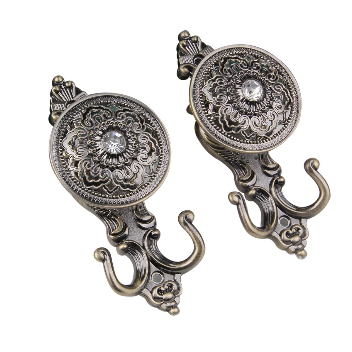Pair Of Rose Style Drapery Curtain Holdbacks Tieback Hooks (Bronze)(China  (Mainland