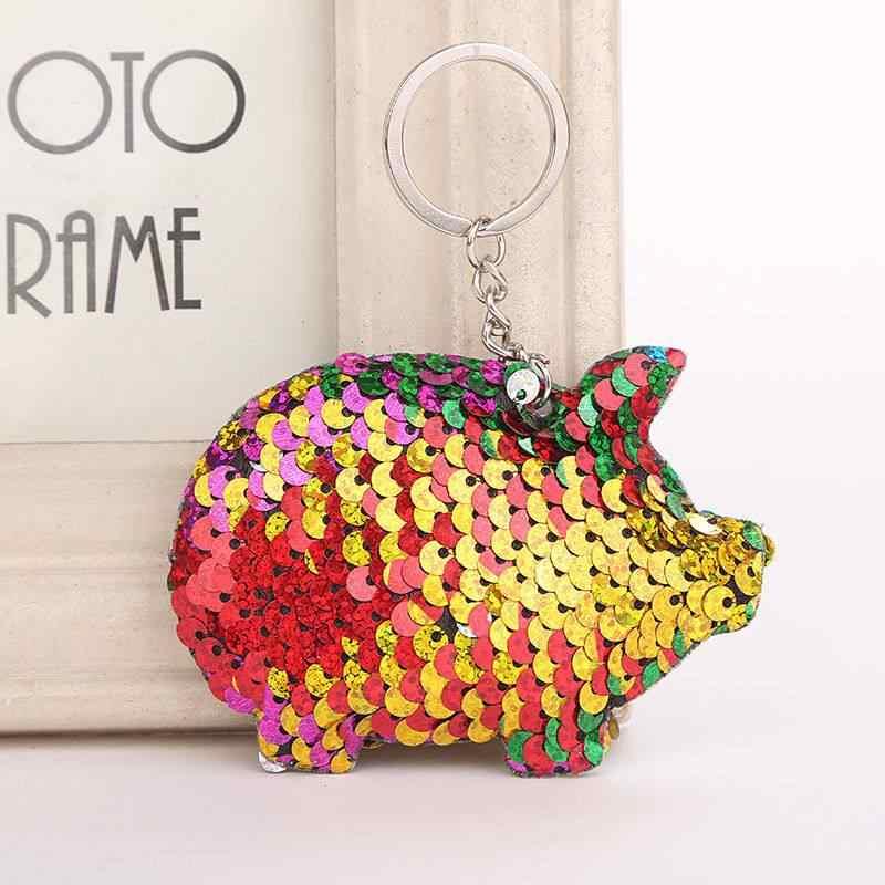 Porco bonito Keychain Pom Pom Glitter Lantejoulas Saco de Presentes para As Mulheres Carro Chaveiro Chave Acessórios RingNew Novo