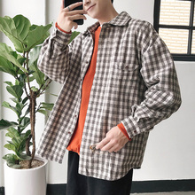 2019 Autumn Casual Fashion Japanese Style Lattice Turn Down Collar Long Sleeve Men Shirt Youth Plaid Cotton Loose Male Coat S-XL