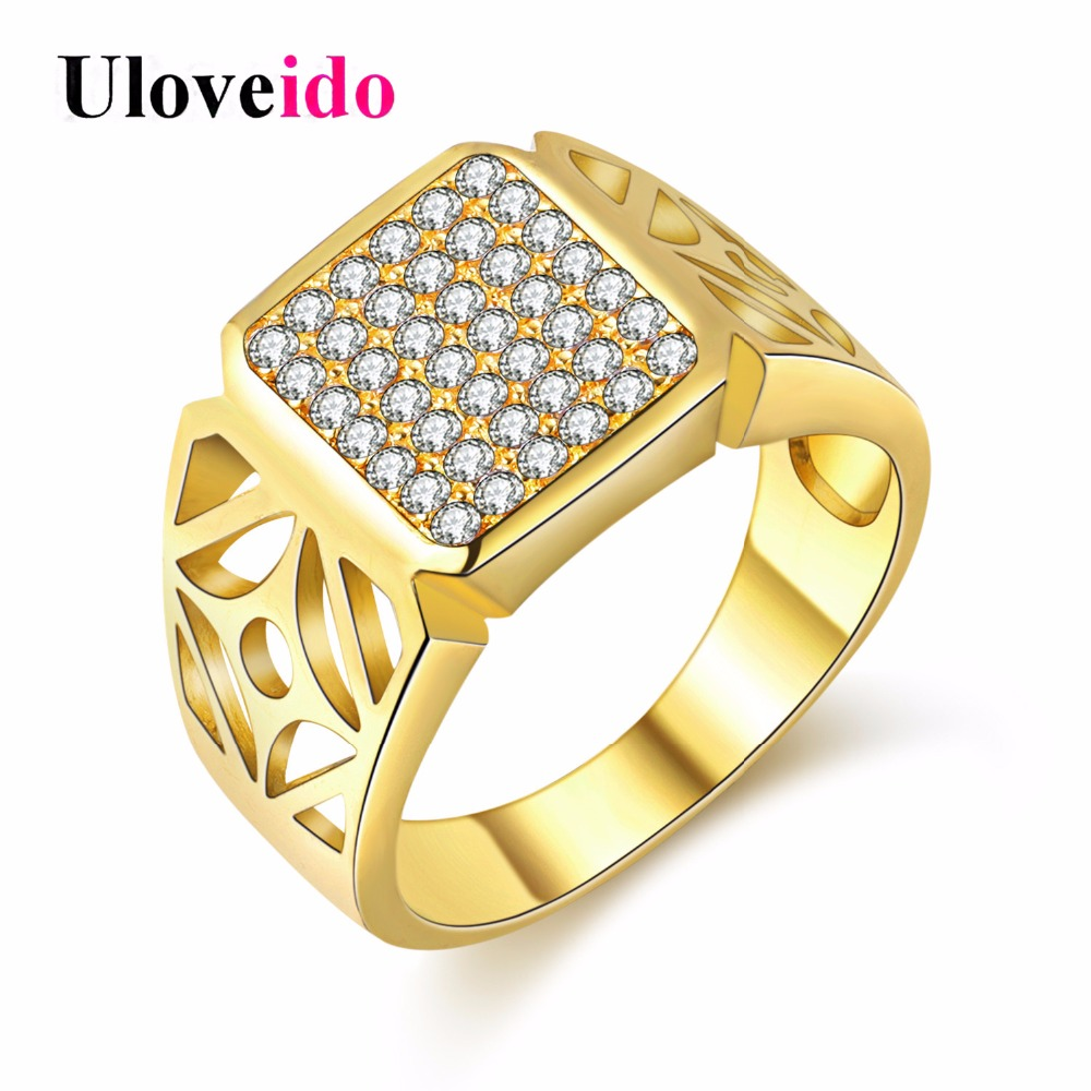 Uloveido Wedding Rings For Men Gold Color Mens Band Rings Silver Color Ring  Man Fantasy Cool Vintage Accessories 5%off JX004 In Engagement Rings From  ...