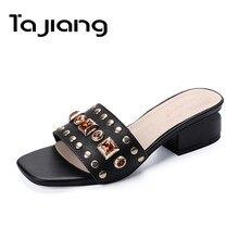 7c7be9a81 Ta Jiang Genuíno Couro De Vaca Camurça Cristais Mulheres Sandálias Sapatos  de Verão Mulher De Salto Alto Sandálias Gladiador Sen.