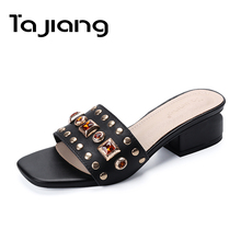 Ta Jiang Genuine Leather Cow Suede Crystals Women Sandals Summer Shoes