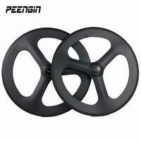 Cheap sales 1 pair carbon tri spoke wheels track bicycle clincher integrated 3 spokes wheelsets tubular road bike fixe gear type