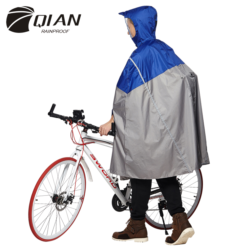 QIAN RAINPROOF Impermeable Outdoor Fashionable Rain Poncho Backpack Reflective Tape Design Climbing Hiking Travel Rain Cover