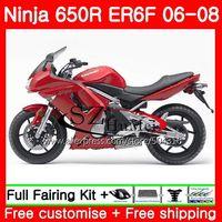 Body For KAWASAKI NINJA 650R ER6 F 650 ER-6F 06-08 4SH19 RED flames Ninja650R ER6F 06 07 08 ER 6F 2006 2007 2008 Fairings Kit