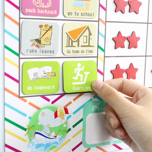 Image 5 - Time Schedule Fridge Magnet 40pcs Children Task Good Habit Magnetic Stickers Montessori Kids Early Educational Learning Toys