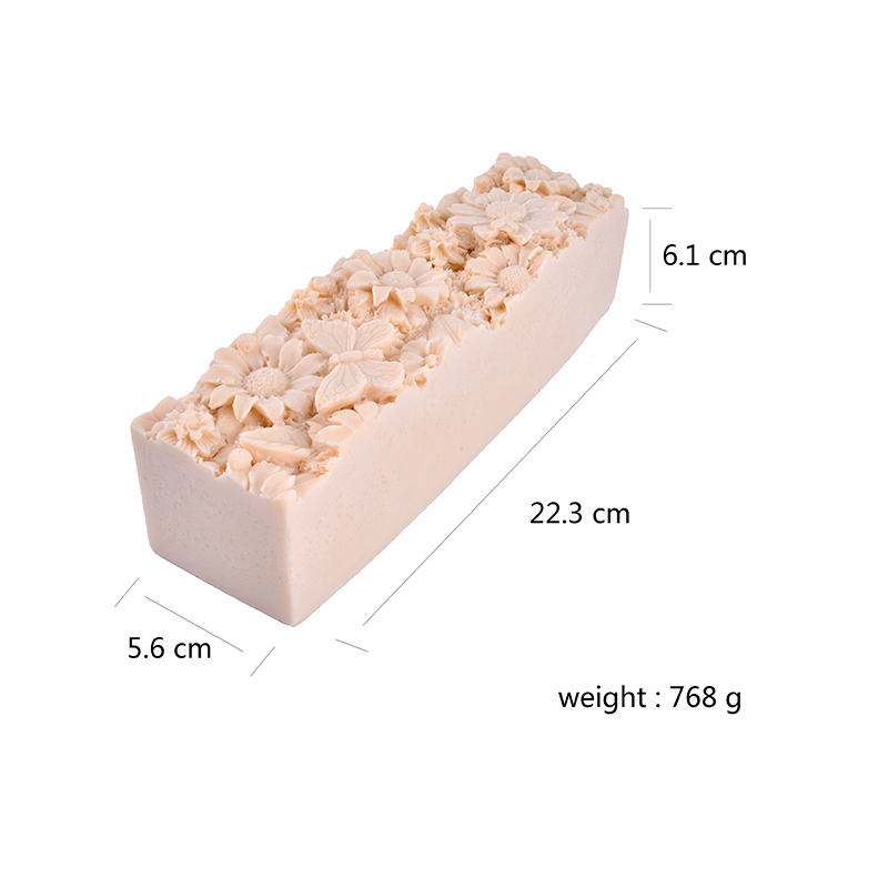 Silicone Loaf Soap Mold With Flower Pattern Decoration Craft Handmade Mould Tool