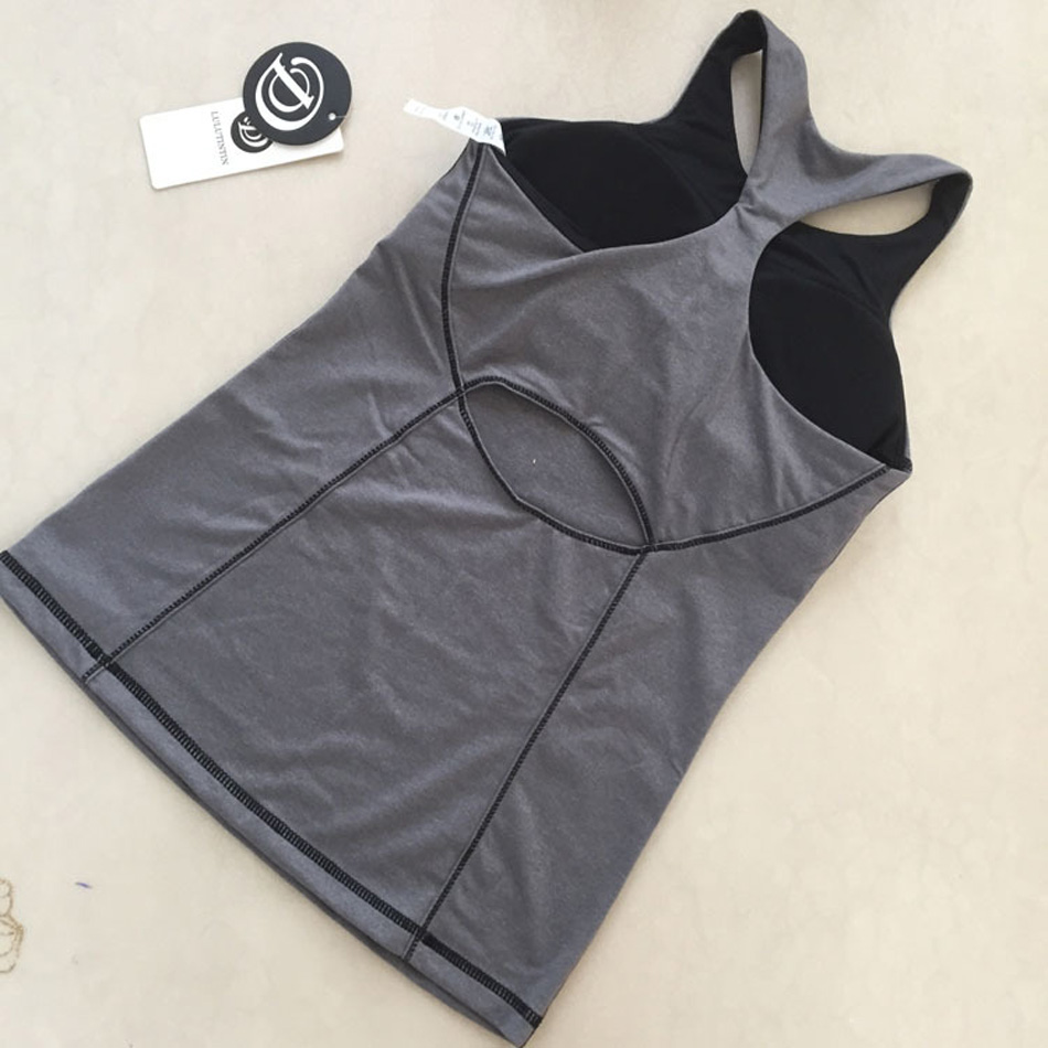7781fd1eb7 Solid Color Women High Impact Hot Yoga Tank Top Shirts Fitness Padded Bra  Sports Raceback Workout Tank Top Built in Shelf Bra on Aliexpress.com