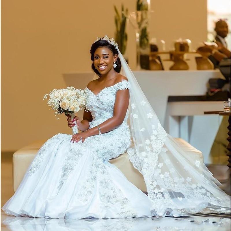 Nigrian Bridal Wedding Dresses: African Wedding Gowns With Beaded Mermaid Romantic Wedding