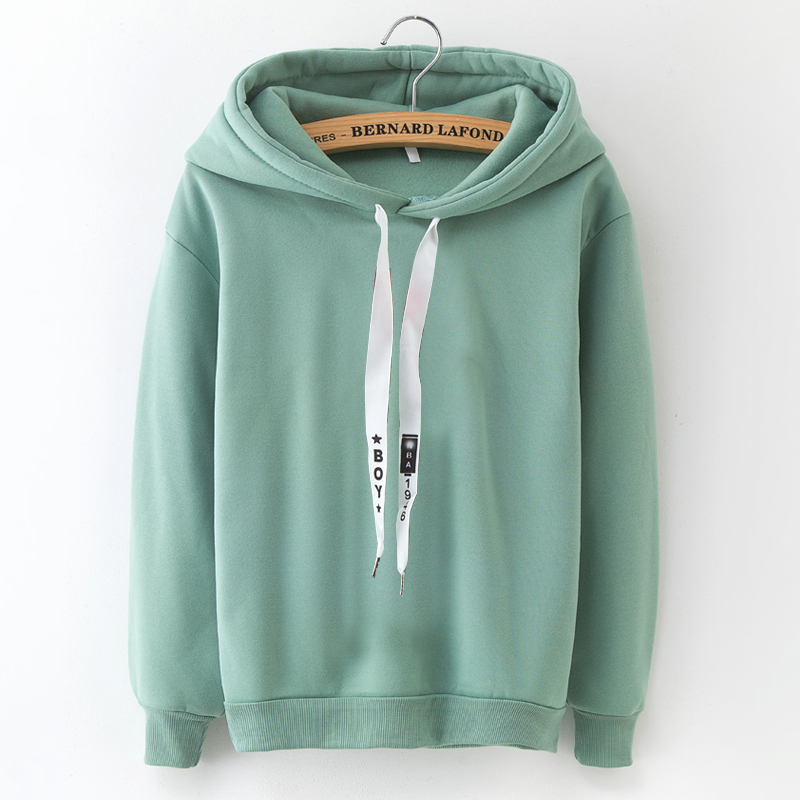 Lanshanque S-xxxl Autumn Winter Fleece Harajuku Pullover Solid Thick Loose Women Hoodies Sweatshirts Female Casual Coat #4
