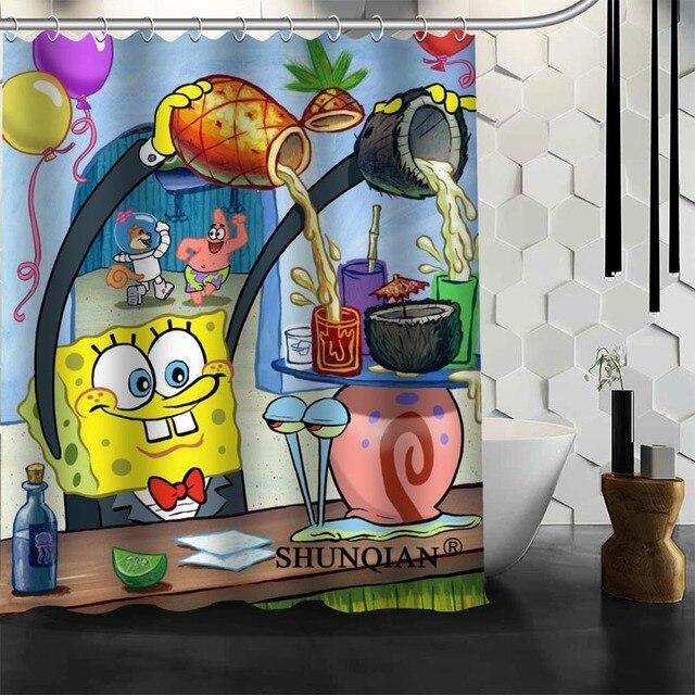 Best Nice Custom Cartoon Spongebob Shower Curtain Bath Curtain ...