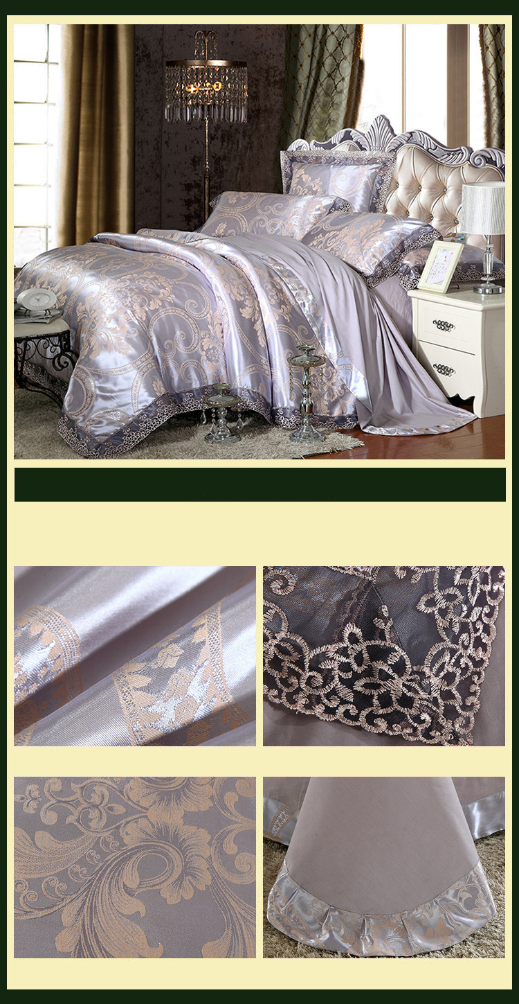 New Luxury Embroidery Tinsel Satin Silk Jacquard Bedding Set, Queen, King Size, 4pcs/6pcs 20