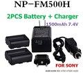 Alta calidad de Batería Para SONY Cámara DIGITAL batería NP FM500H Para sony a300 a350 a900 a700 a700k a200 2 unids fm500h baterías + cargador