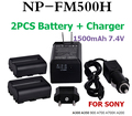 High quality Battery For SONY DIGITAL Camera NP FM500H For SONY A300 A350 A900 A700 A700K A200 2 pcs FM500H batteries+charger