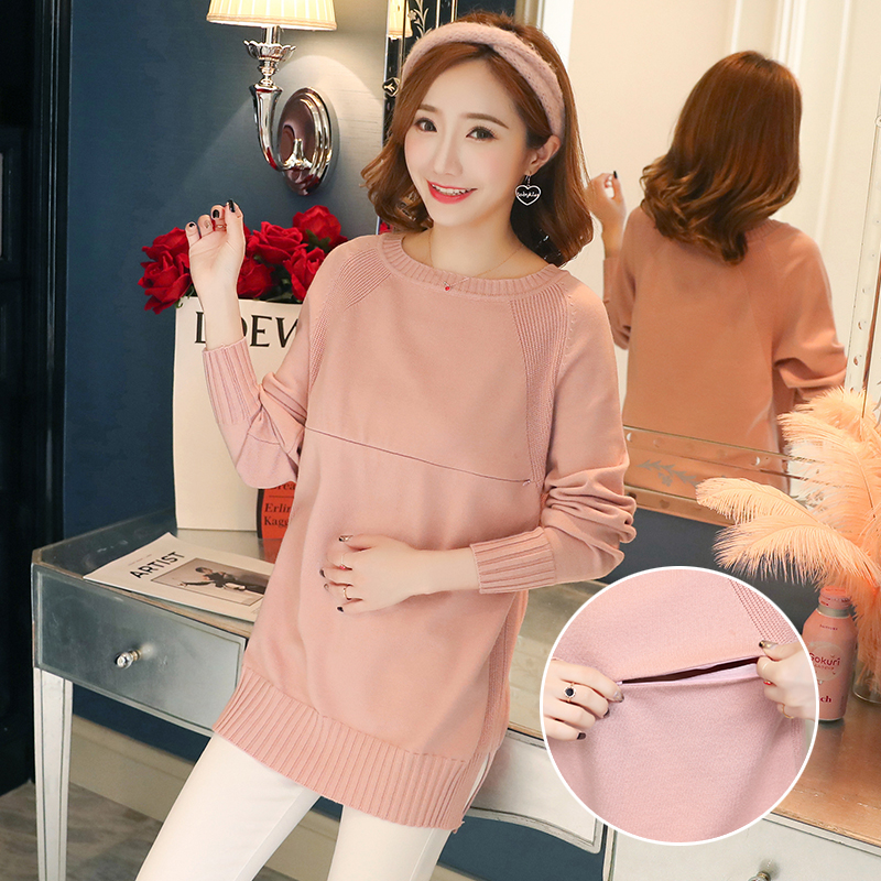 806# Autumn Fashion Knitted Maternity Nursing Sweaters Breastfeeding Bottoming Shirts For Pregnant Women Pregnancy Feeding Tops