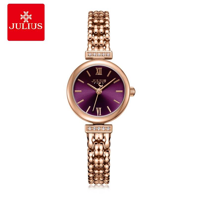 Julius Jewelry Watch Ladies Slim Purple Antique Relogio With Crystal Bracelet Band Watch Fashion Women's Reloj Mujer JA-1139