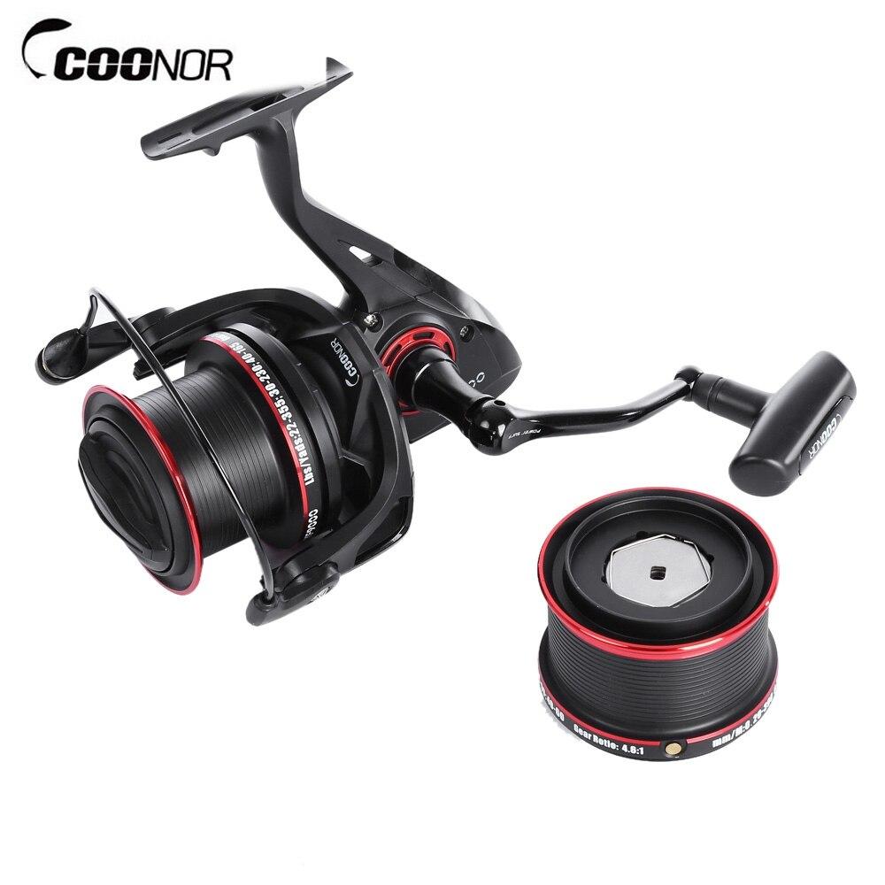 COONOR 12 + 2 bola carretes de pesca rodamientos de pesca de Metal ruedas carrete de pesca 4,6: 1 con YF8000 + YF9000 ruedas