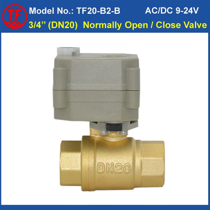 все цены на  2 or 5 Wires Brass 3/4''  Normal Open/Close Motorized Ball Valve With Manual Override AC/DC9-24V 2-Way DN20 Full Port  онлайн