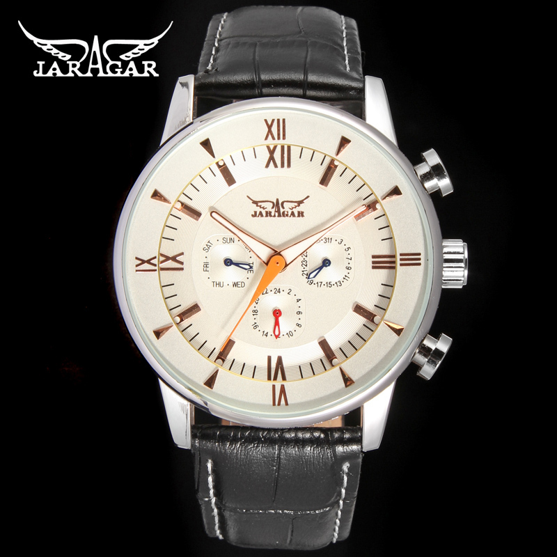 Jargar  JAG6901M3S2 Automatic  dress wristwatch silver color with black leather steel  band for men hot selling free shipping jargar jag6902m3s2 automatic dress wristwatch silver color with black leather steel band for men hot selling free shipping
