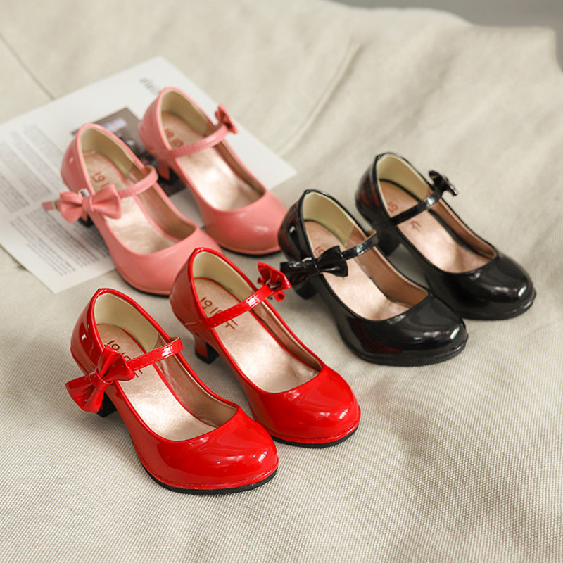 Shoes Pumps High-Heel Girls Kids Black Princess Students Bow Red for Sandals-Size 26-35