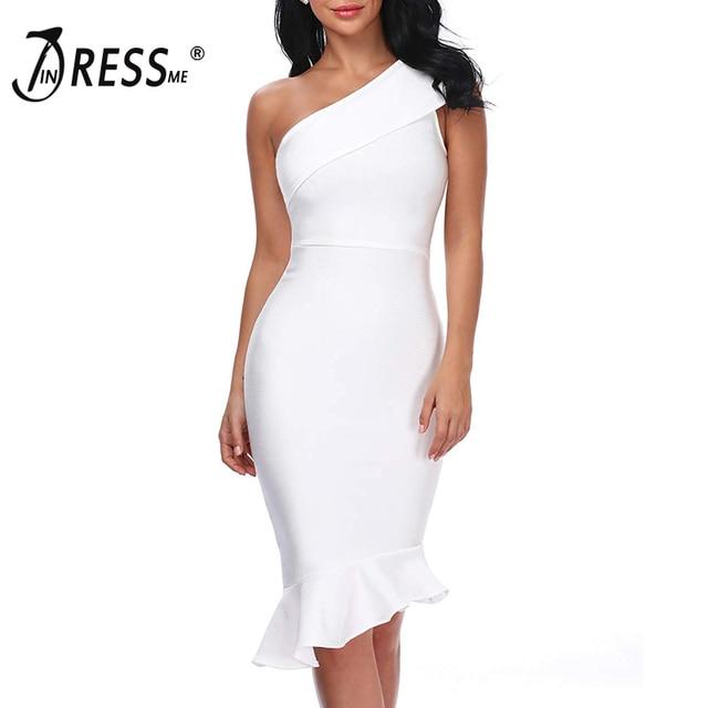 INDRESSME Women Bandage Dress One Shoulder Fashion Mermaid Solid Lady Dress Vestidos 2019 New Fashion Party Dresses