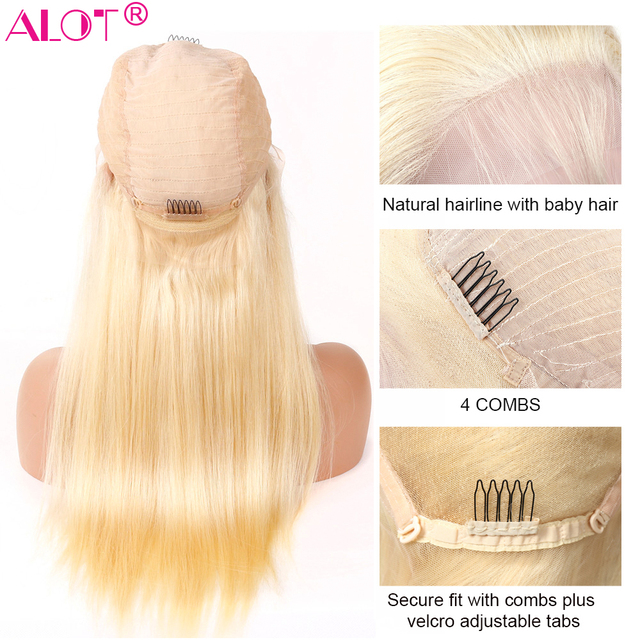 613 Blonde Lace Front Wig Brazilian Straight 13x4 Lace Front Human Hair Wigs Pre Plucked Baby Hair Remy Glueless 613 Lace Wigs 2