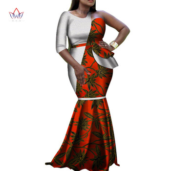 New african dresses for women bazin riche style femme african clothes graceful lady print wax plus size party dress WY4118