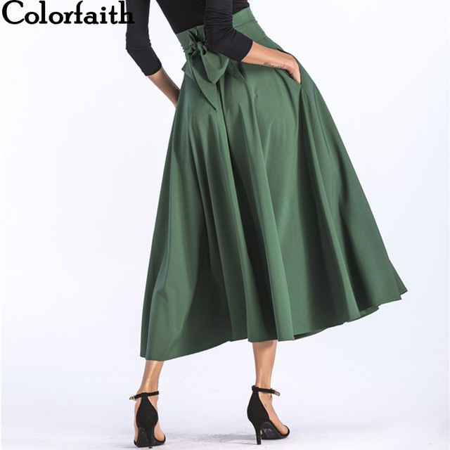 d2870d15b501a Colorfaith 2019 Women Slit Long Maxi Skirt Vintage Ladies Fashion Pleated  Flared Pockets Lace Up Bow