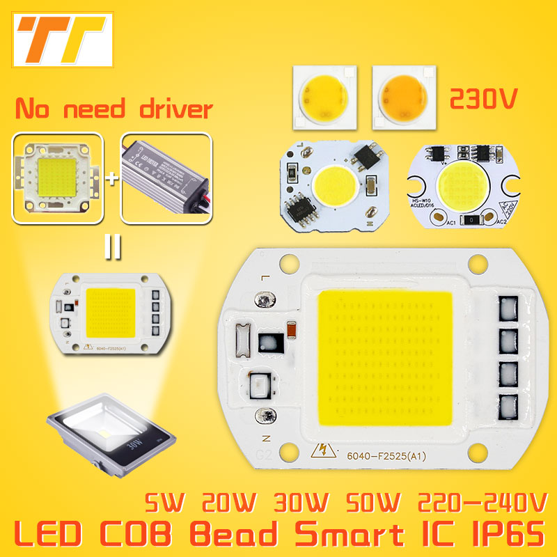 LED COB Bulb Lamp 5W 20W 30W 50W LED Chip 230V 220V Input IP65 Smart IC integrated Driver for flood light no need driver to DIY led cob chip 5w 20w 30w 50w 220v input