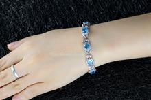 Luxury Silver 925 Zircon Crystal Charm Bracelet