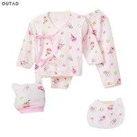 5pcs Set Baby Clothing Sets 0 3 Months Pure Cotton Winter Soft Underwear Tops Bottoms Cap
