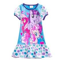 Girls baby cartoon dress little pony cotton short-sleeved summer dress suitable for children wearing children's print dress 6622
