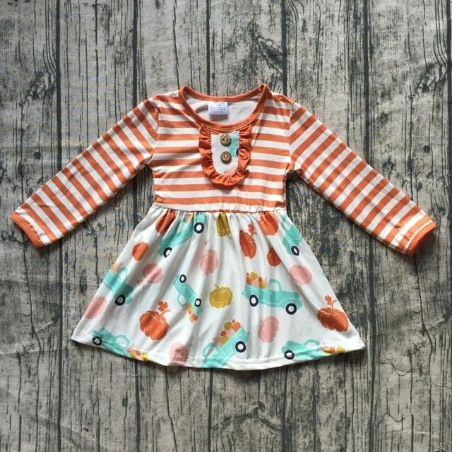 85c6d23bf new autume Fall/winter hot sale baby girls boutique orange floral trucker  pumpkin stripe dress children clothes milk silk cotton