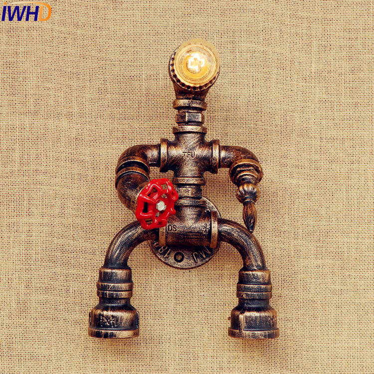 Iwhd Water Pipe Retro Vintage Ceiling Light Fixtures: IWHD Robot Water Pipe Wall Lamp Vintage Stair Light