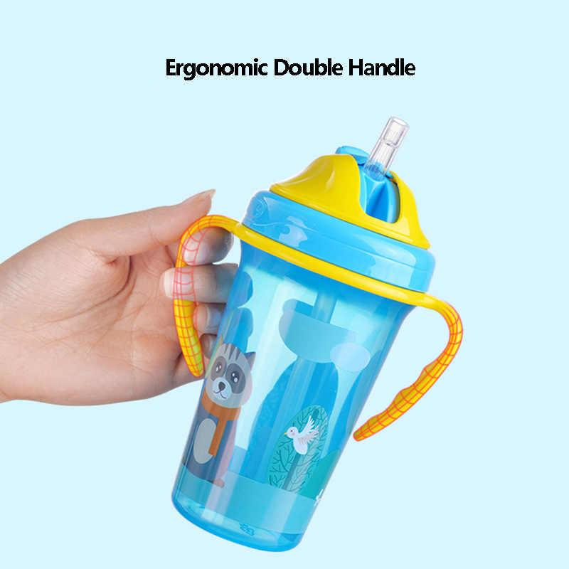 BPA GRATIS Nuevo taza de entrenamiento para bebés a prueba de fugas, lindo bebedero para niños pequeños, botellas con mango anticaída, hervidor de bebida saludable para chico MY0052