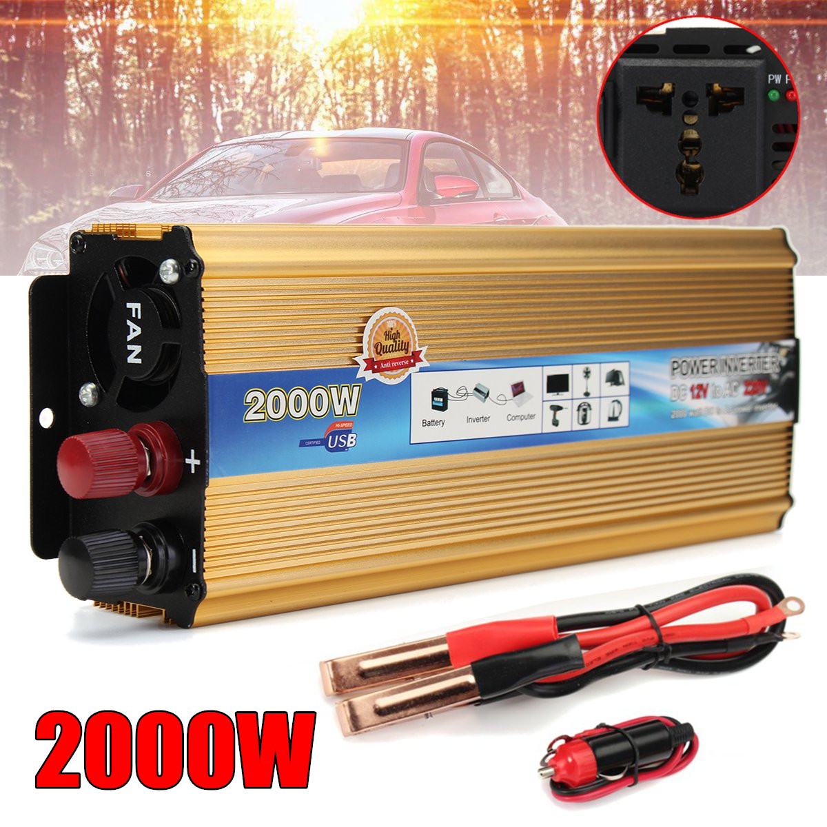 2200w Automobiles Power Inverter Dc 12v Ac 220v Car Charger 12 Volt To 2000w Converter Adapter Usb Supply