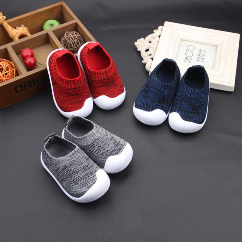 Children's Spring Flying Woven Fabric Solid Color Knit Socks Shoes Breathable Baby Shoes Stretch  Casual Shoes