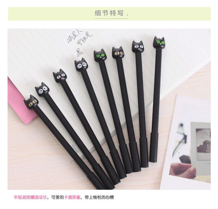 6pcs Kawaii 0.38 mm black cat Gel Pen black ink pen for student writing gift  School Office Supply Escolar Papelaria