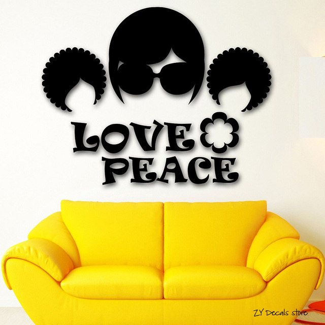 Hippie Culture Good Pacifism Wall Decals Peace Love Wall Sticker For ...