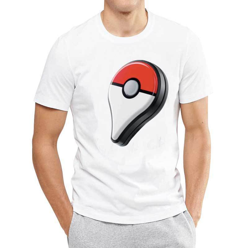 HOT!!New Fashion Summer Mens Short-sleeve T-shirt O-neck Printed White T-shirt Pokemon go Printed Casual Mens Tops S-4XL