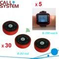 Digital Waiter Calling System for Restaurant Catering Equipment (5 wrist watch clock + 30 transmitters single-key)