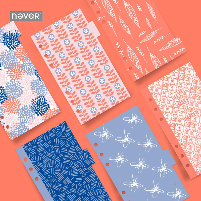 NEVER Notebook Accessories 6pcs Creative color Hydrangea petals A6 Spiral Dividers Planner Filler Paper Dokibook Filofax Escolar smarteez pубашка
