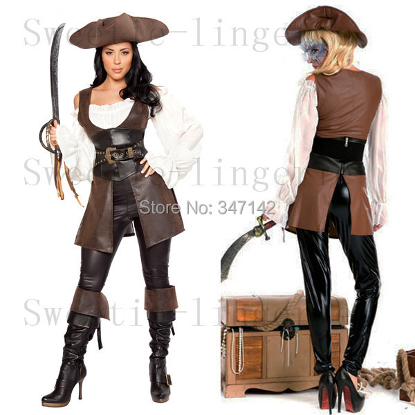 US $84 87 |Women Pirate Costumes Leather with Sword and Hat Leather  Carnival Costumes Women Costumes Pirate Cosplay Party Cosplay in Women  Pirate