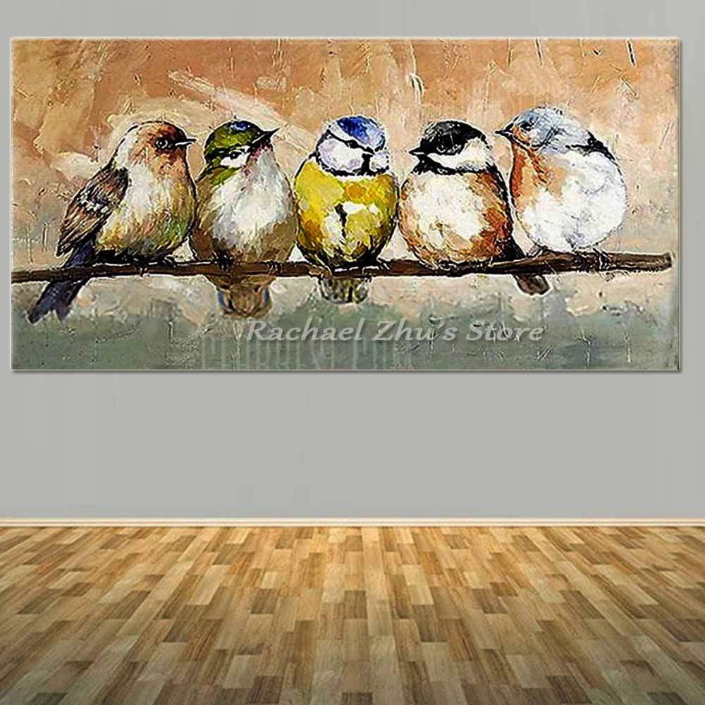Hand Painted Abstract Animal Brids Oil Painting On Canvas Abstract Birds Wall Pictures Living Room Bedroom