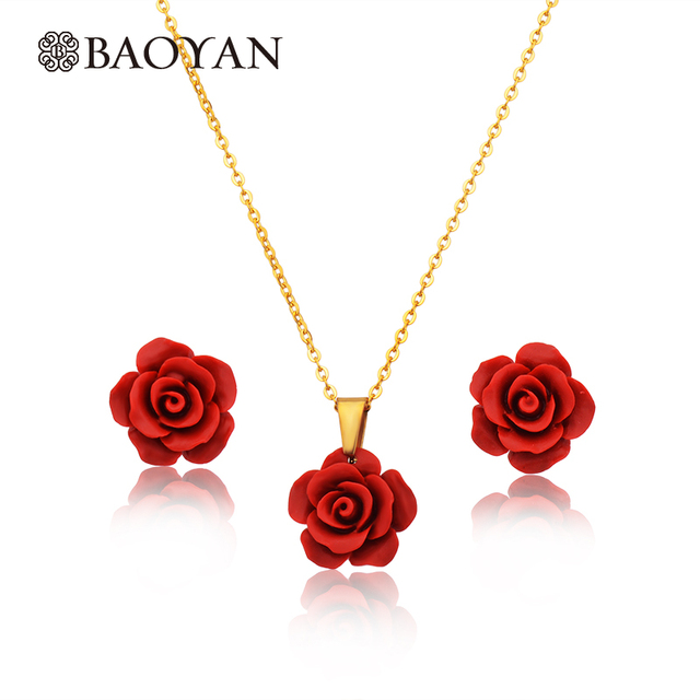 Fashion Jewelry Stainless Steel Red Flower Necklace Earring Set For Women Rose Pendant